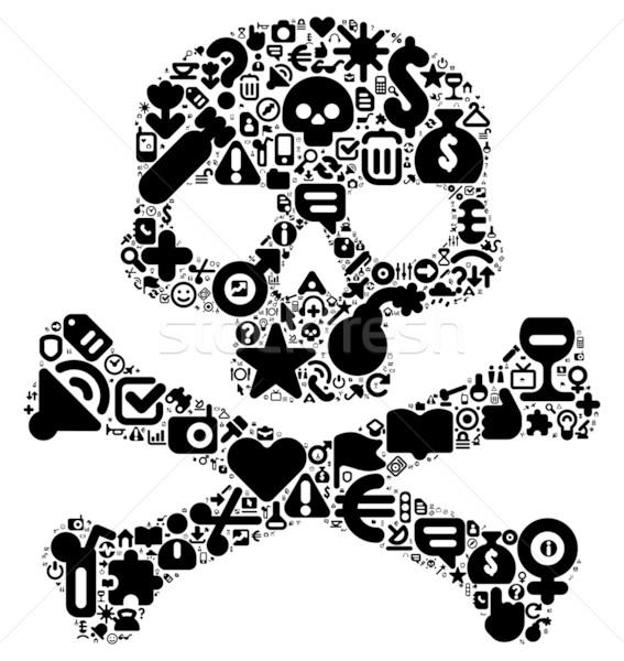 Emberi koponya 100 ikon szett fekete szín Stock fotó © ildogesto