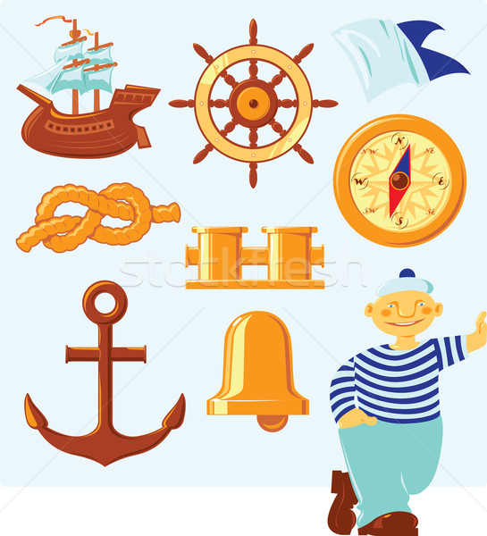 Nautical icons Stock photo © ildogesto