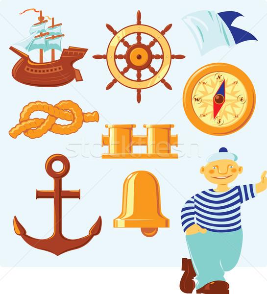 Tengerészeti ikonok szerencsés tengerész tenger felirat Stock fotó © ildogesto