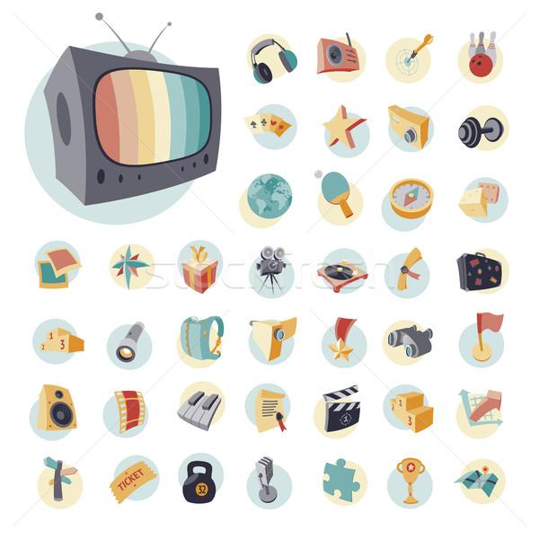 Vintage icons set for entertainment Stock photo © ildogesto