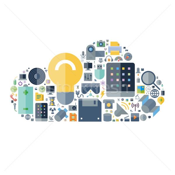 Ikonok technológia eszközök felhő forma elektronikus Stock fotó © ildogesto