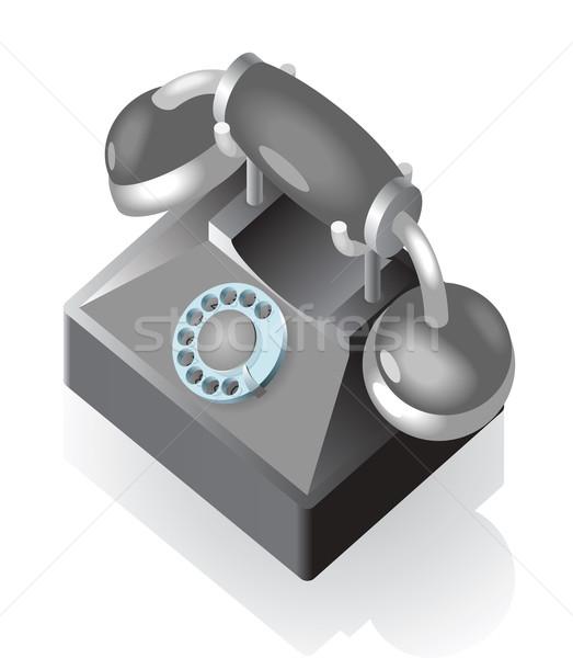 Stockfoto: Isometrische · icon · vintage · telefoon · technologie · telefoon