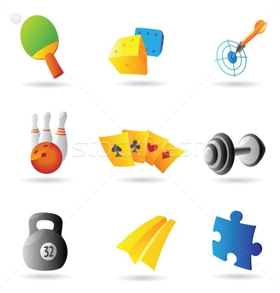Icone tempo libero gioco d'azzardo design blu puzzle Foto d'archivio © ildogesto