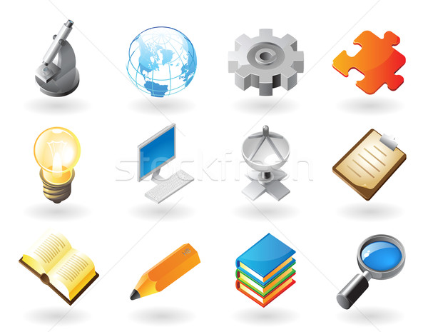 Stock photo: Isometric-style icons for science and industry