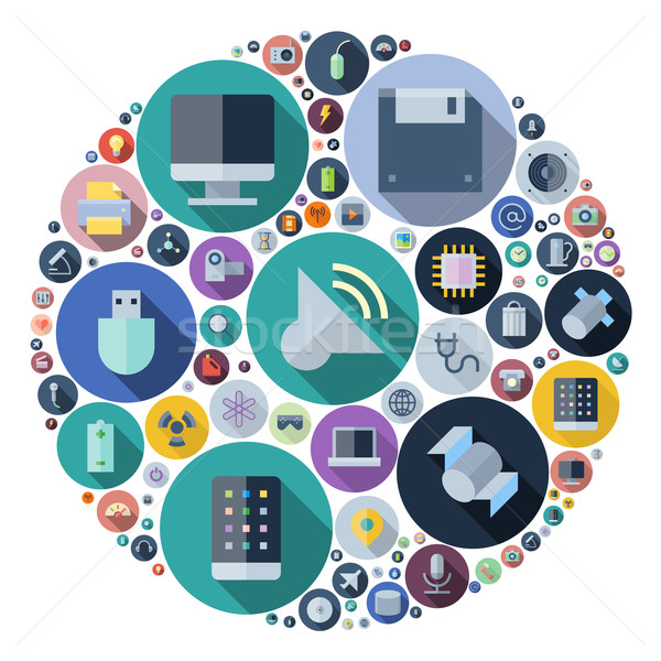 Icons for technology and devices arranged in circle Stock photo © ildogesto