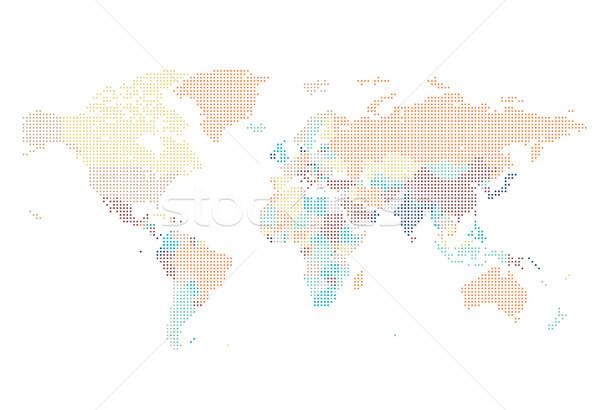 Punteggiata mappa del mondo piazza mappa sfondo arancione Foto d'archivio © ildogesto