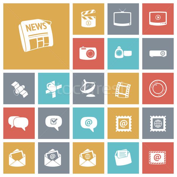 Flat design icons for media Stock photo © ildogesto