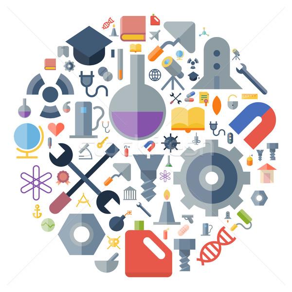 ícones industrial ciência círculo globo escolas Foto stock © ildogesto