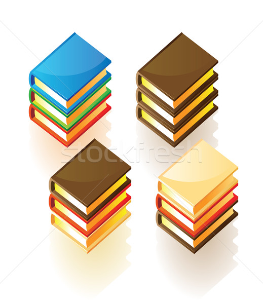 Isometric icons of stacked books Stock photo © ildogesto