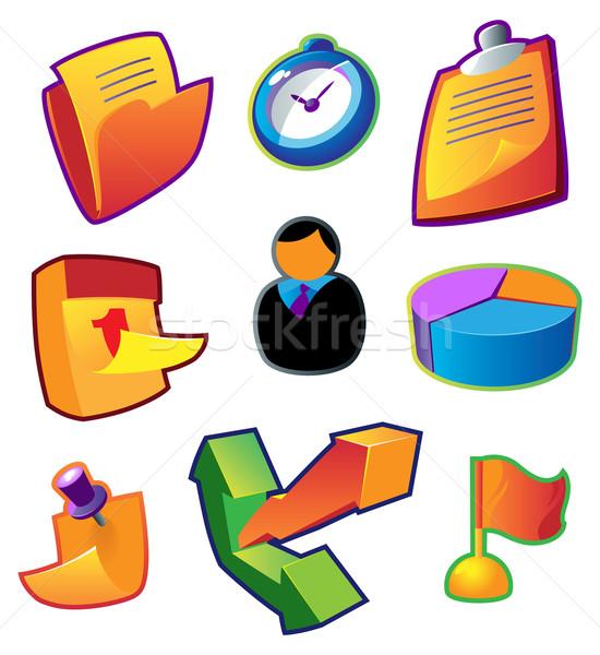 Colorful icons: business workflow Stock photo © ildogesto