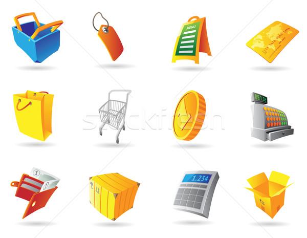 Symbole Einzelhandel Business Geld Zeichen blau Stock foto © ildogesto
