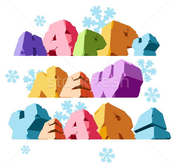 Slogan happy new year hiver bleu célébration loisirs Photo stock © ildogesto