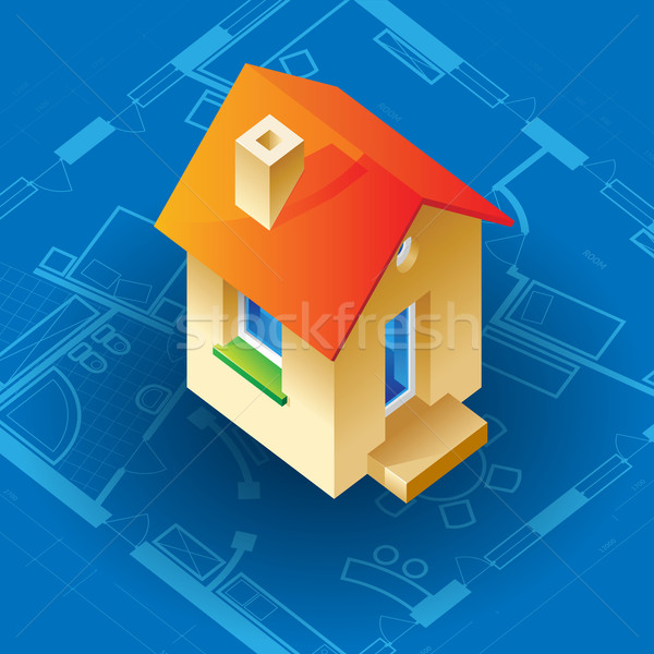 Blauwdruk huis Blauw business gebouw bouw Stockfoto © ildogesto