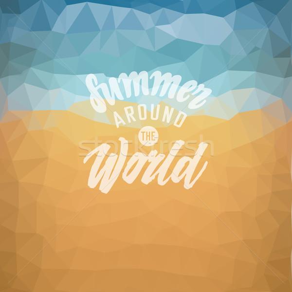 Férias de verão praia tropical verão em torno de mundo cartaz Foto stock © ildogesto