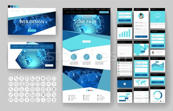 Website design sjabloon interface communie website een Stockfoto © ildogesto