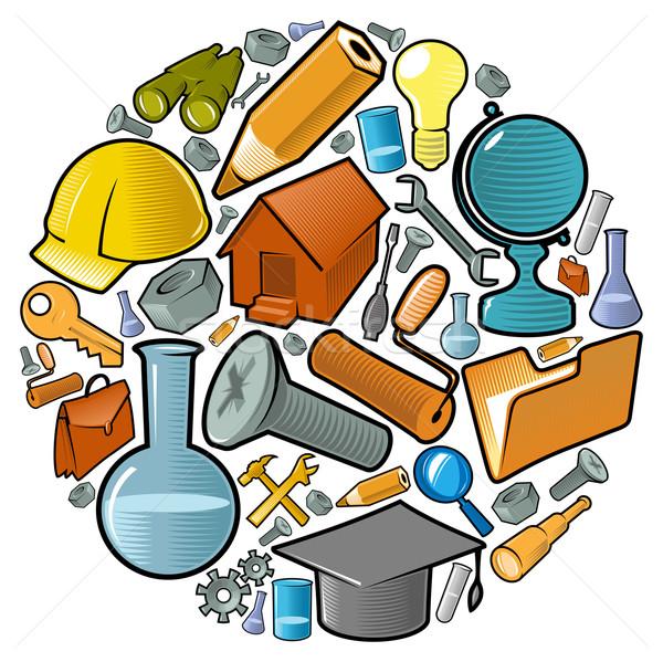 Kreis Industrie Symbole Welt Wissenschaft Produktion Stock foto © ildogesto