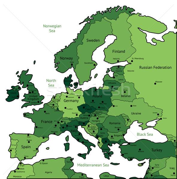 Green map of Europe Stock photo © ildogesto