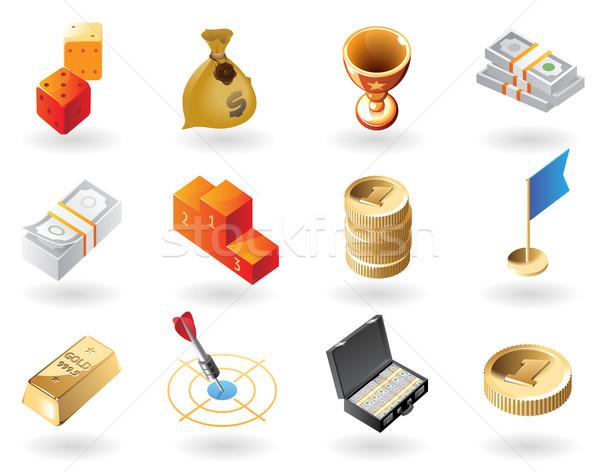 Isometric-style icons for awards Stock photo © ildogesto