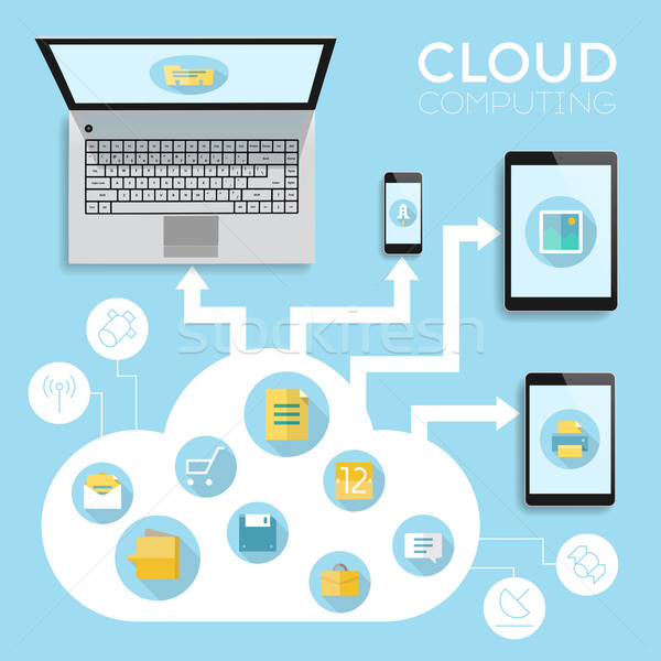 Cloud computing infographics Stock photo © ildogesto