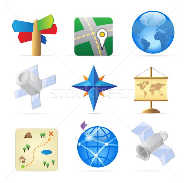 Photo stock: Icônes · navigation · monde · carte · monde · web