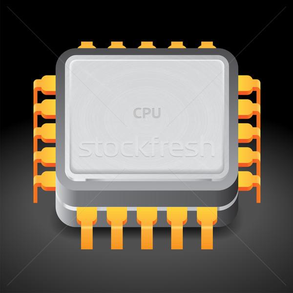 Icon microprocessor donkere ontwerp metaal circuit Stockfoto © ildogesto