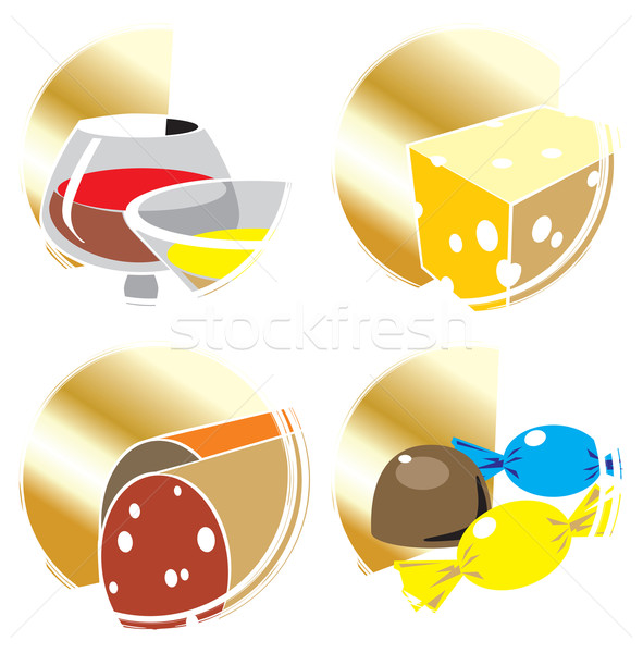 Icons with foods and drinks.  Stock photo © ildogesto