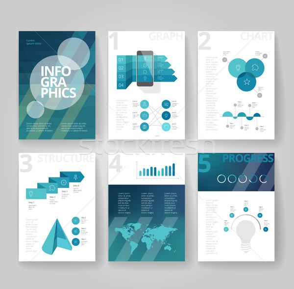Negocios folleto plantilla infografía plantilla de diseño signo Foto stock © ildogesto