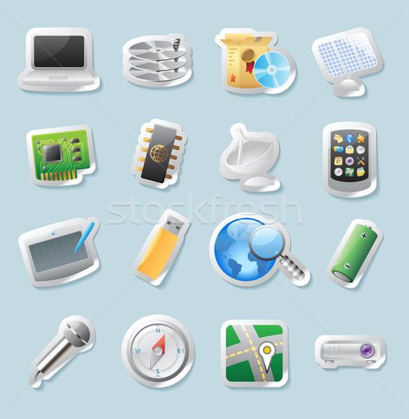 ステッカー アイコン 技術 ボタン セット ストックフォト © ildogesto