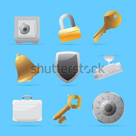 Naklejki ikona wojskowych przestępczości przycisk zestaw Zdjęcia stock © ildogesto