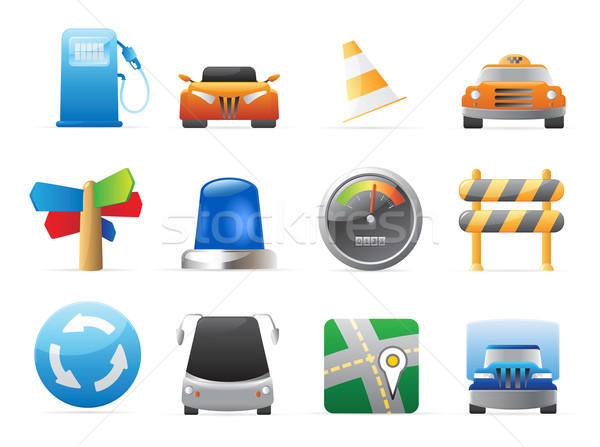 Icônes voitures routes transport carte lumière Photo stock © ildogesto