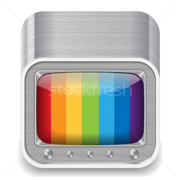 Ikona telewizji zestaw biały projektu film Zdjęcia stock © ildogesto