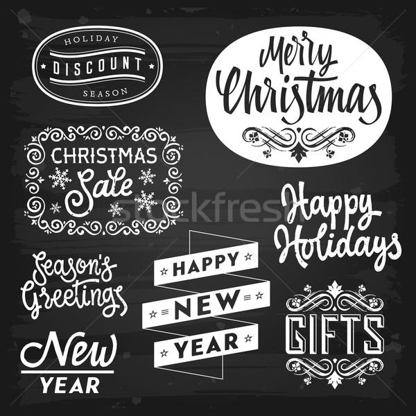 Stock fotó: Karácsony · új · év · üdvözlet · jelvények · tábla · eps10