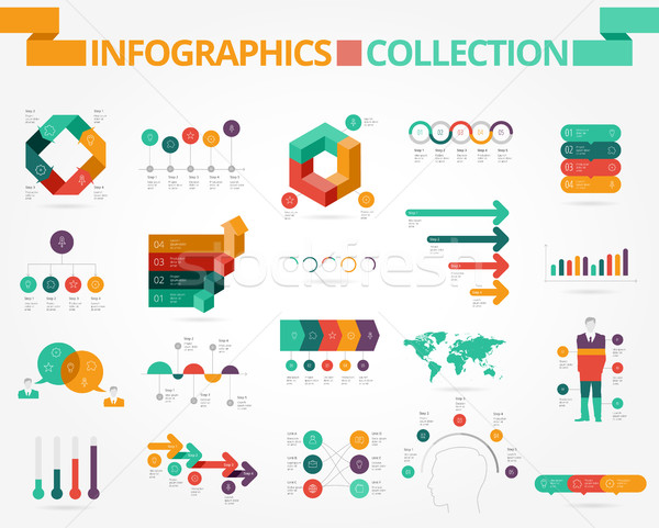Business sociale infographics ontwerp communie oranje Stockfoto © ildogesto