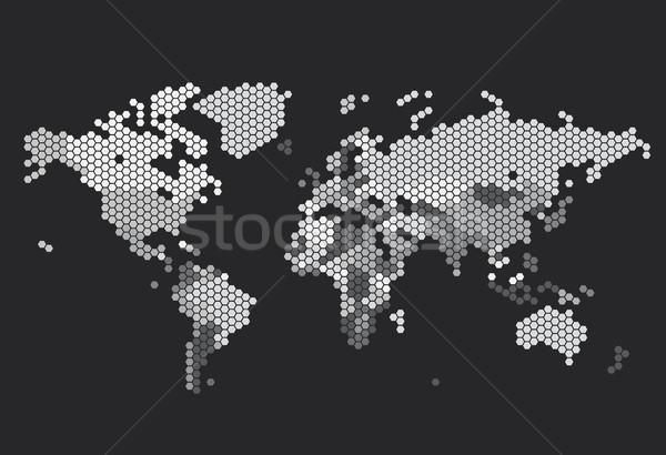 Foto d'archivio: Punteggiata · mappa · del · mondo · mappa · sfondo · grafica · piastrelle