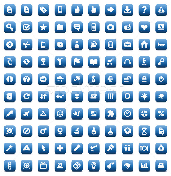 Stock photo: Set of 100 icons for web and interface
