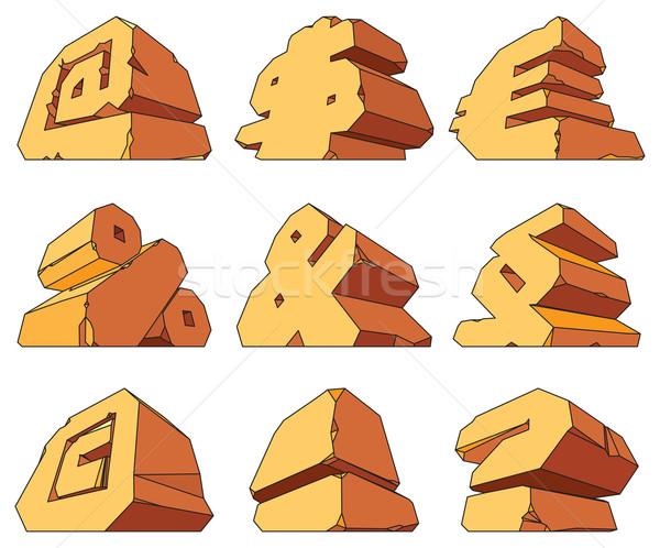 Stock photo: Alphabet made of stone: symbols