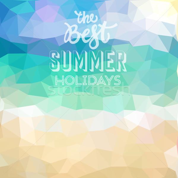 Tropikalnej plaży najlepszy lata wakacje plakat Zdjęcia stock © ildogesto