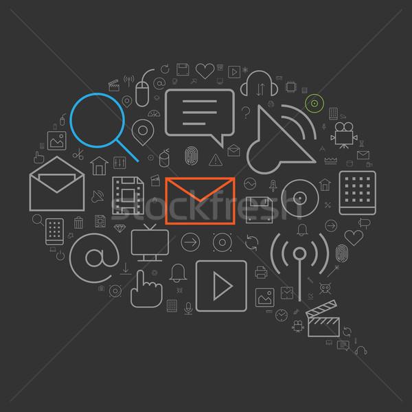 Webes ikonok felhasználó interfész szövegbuborék forma telefon Stock fotó © ildogesto