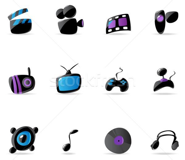 Foto stock: Brilhante · mídia · jogo · música · ícones · televisão