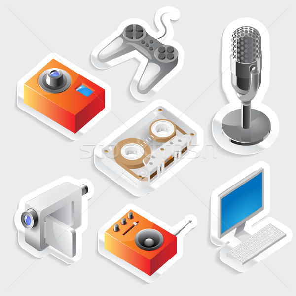 Sticker icon set for entertainment devices Stock photo © ildogesto