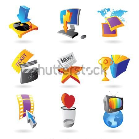 Iconen media informatie entertainment telefoon film Stockfoto © ildogesto