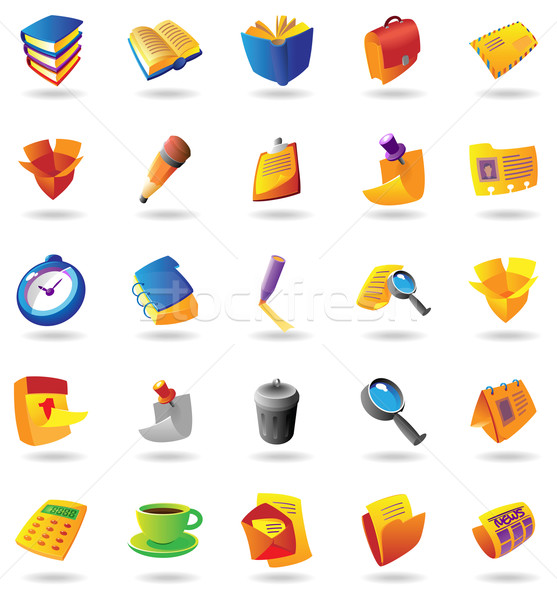 Stock photo: Realistic icons set for office themes