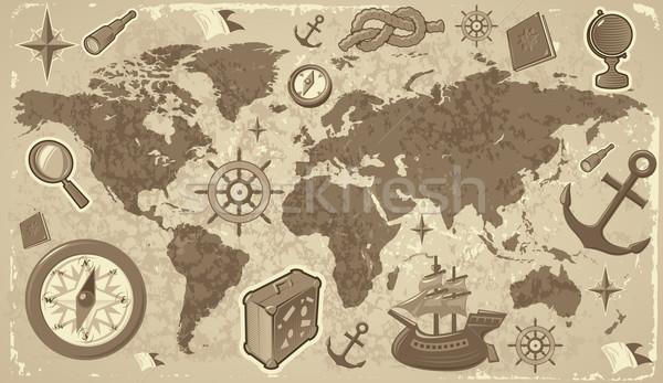 Foto stock: Mapa · do · mundo · viajar · ícones · globo · terra