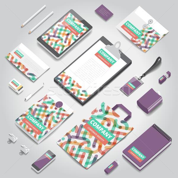 Corporate identiteit print sjabloon schrijfbehoeften objecten Stockfoto © ildogesto
