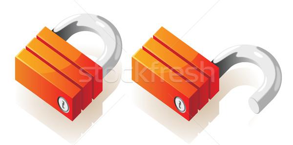 Isometric icons of locks Stock photo © ildogesto