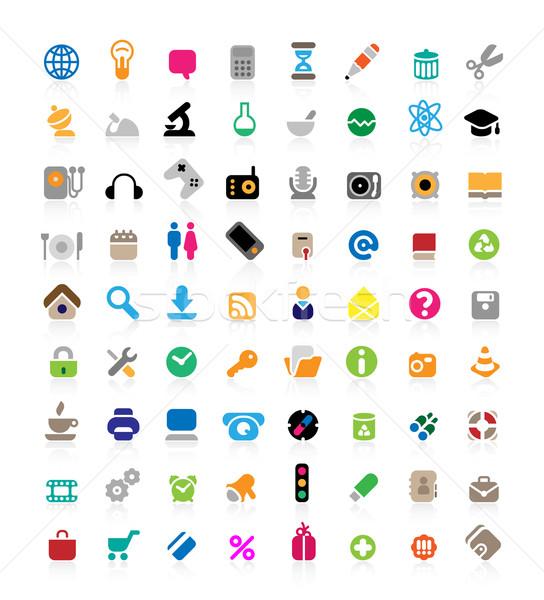 Icon set on white background Stock photo © ildogesto