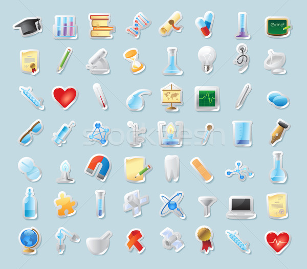 Stock photo: Sticker icons for science and education
