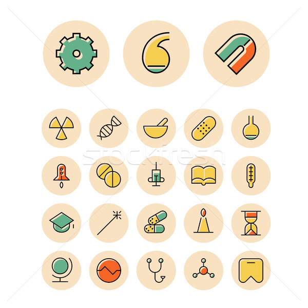 Thin line icons for science and medical Stock photo © ildogesto