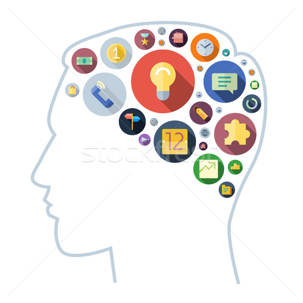 Icons for business arranged in human brain shape Stock photo © ildogesto