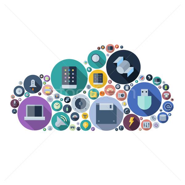 Foto stock: ícones · tecnologia · dispositivos · nuvem · forma · eletrônico